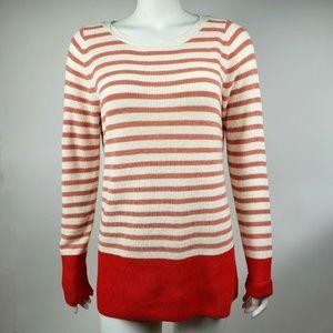 ANN TAYLOR LOFT Pink White Striped Top Medium